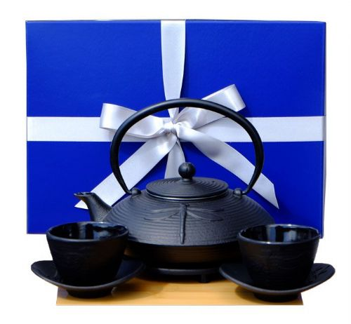 Gift Box M - Cast Iron Black Dragonfly Tea set D - Tetsubin teapot kettle, trivet & cups X2